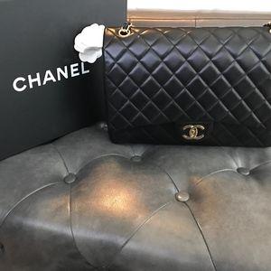 Authentic Chanel Maxi  Lamb skin single flap bag